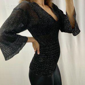 MISSONI ITALY black sheer v neck blouse metalic